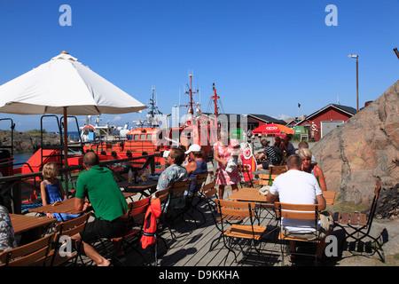 Cafe, harbor of Landsort Island (Oeja),  Stockholm Archipelago, baltic sea coast, Sweden, Scandinavia - Stock Photo