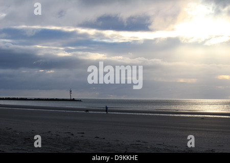 A person and a dog run on the beach in Bettystown, Ireland. - Stock Photo
