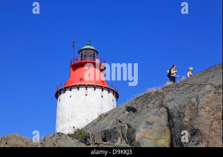 Landsort Island (Oeja), lighthouse, Stockholm Archipelago, baltic sea coast, Sweden, Scandinavia - Stock Photo