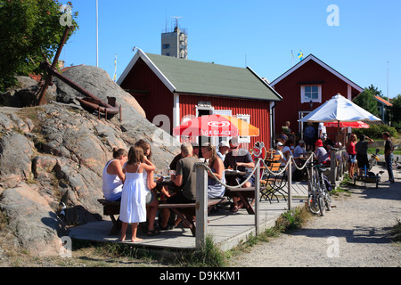 Harbor restaurant at Landsort Island(Oeja), Stockholm Archipelago, baltic sea coastSweden, Scandinavia - Stock Photo