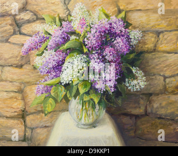 An oil painting on canvas of a beautiful still life with blooming lilacs in a nice glass vase over a stone tiled - Stock Photo