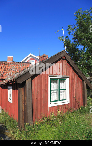 Landsort Island (Oeja), typical wooden house, Stockholm Archipelago, baltic sea coast, Sweden, Scandinavia - Stock Photo