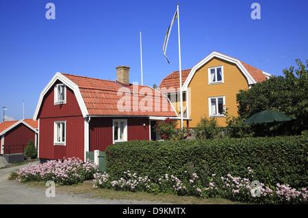 Landsort Island (Oeja), typical wooden houses, Stockholm Archipelago, baltic sea coast, Sweden, Scandinavia - Stock Photo