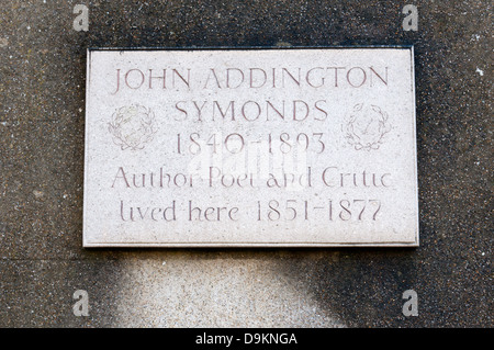 Plaque on Clifton Hill House in Bristol commemorates John Addington Symonds who lived there in the 19th century. - Stock Photo