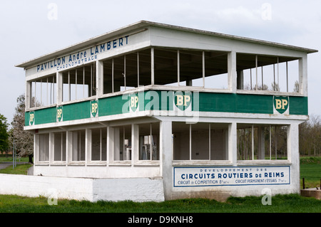 The remains of the old lap timing building of the Reims-Gueux Racing Circuit in northern France. - Stock Photo