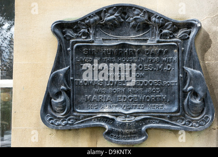 A plaque in Rodney Place, Bristol, records the house lived in by Sir Humphry Davy. - Stock Photo