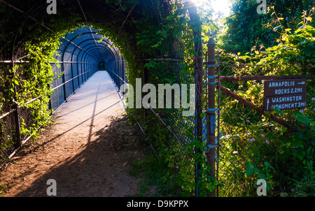 Bridge and trail junction along the Appalachian Trail near South Mountain, Maryland. - Stock Photo