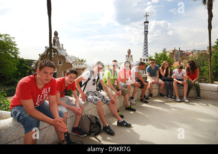 tourists in Parc Guell with view over Barcelona Spain - Stock Photo