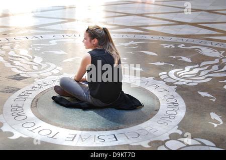 young woman at Montserrat monastery near Barcelona Spain - Stock Photo