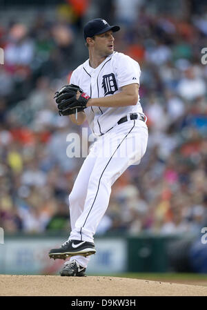 June 17, 2013 - Detroit, Michigan, United States of America - June 17, 2013: Detroit Tigers starting pitcher Max - Stock Photo