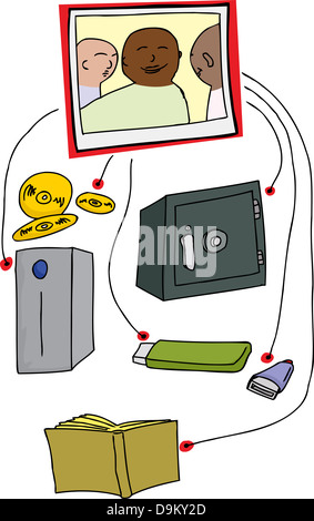 Photo backup system diagram over white background - Stock Photo