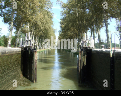 lock on Canal du Midi near Montech - Stock Photo