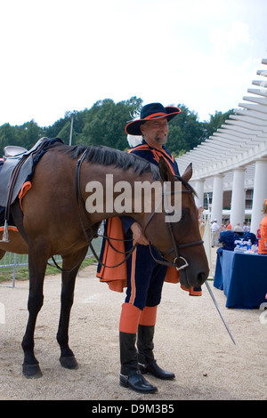 The Virginia Cavaliers mascot and his horse Sabre posed stands at Scott Stadium in Charlottesville, VA on August - Stock Photo