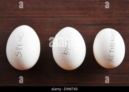 Close-up of eggs with text written on it - Stock Photo