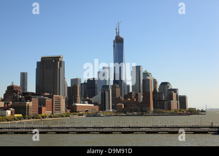 downtown Manhattan with WTC tower under construction - Stock Photo