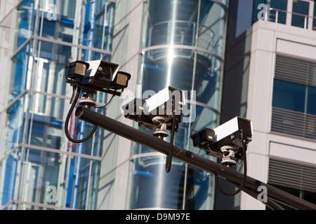 Traffic cameras in front of Tower Bridge, London, UK - Stock Photo