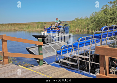 Everglades National Park tourist going on Air boat Ride in the Everglades in Florida USA America North America - Stock Photo