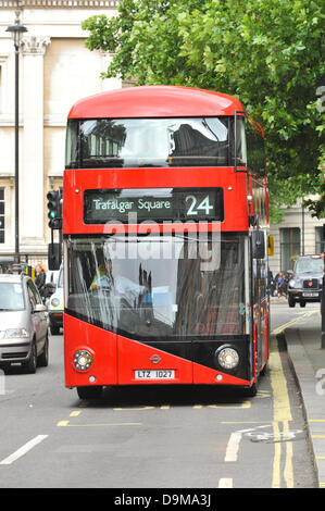 Trafalgar Square, London, UK. 22nd June 2013. One of the New Bus for London (NB4L) on the 24 route at Trafalgar - Stock Photo