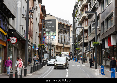 shops in the old town of andorra la vella andorra - Stock Photo