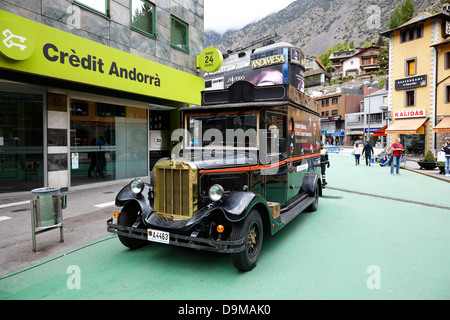 old car at the entrance to the centre historic and centre commercial of andorra la vella andorra - Stock Photo