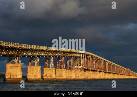Seven mile bridge, Florida at sunset - Stock Photo