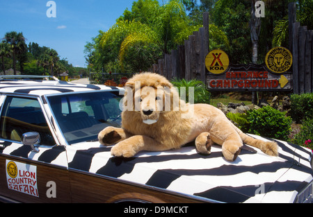A toy lion greets visitors to Lion Country Safari, a drive-though zoological  park with more than 900 wild animals - Stock Photo