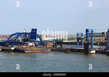 DFDS passenger and car ferry terminal from Sirena Seaways ferry to Esbjerg in Parkeston Quay, Harwich Port, Essex, - Stock Photo