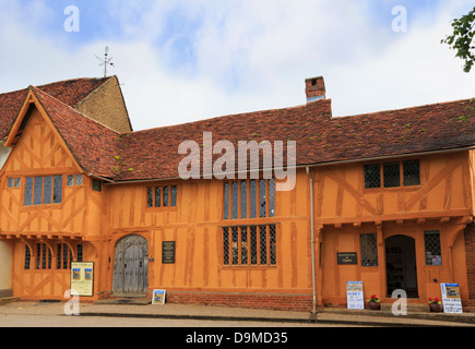 Little Hall museum in 14th century orange timbered building is one of oldest buildings in Lavenham Suffolk England - Stock Photo