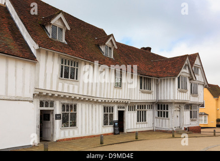 Guildhall of wool guild of Corpus Christi in a 16thc Tudor timbered building in medieval village Lavenham Suffolk - Stock Photo