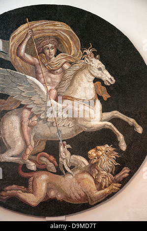 Portion of Roman mosaic of ancient Greek Hero Bellerofon killing monster Chimera displayed in Museum Rolin Autun - Stock Photo