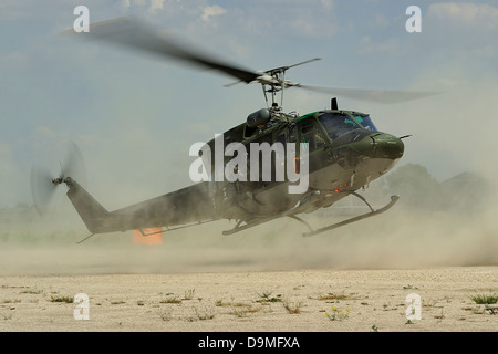 May 9, 2013 - An Agusta Bell AB 212 of the Italian Air Force landing for personnel recovery, Grazzanise, Italy. - Stock Photo