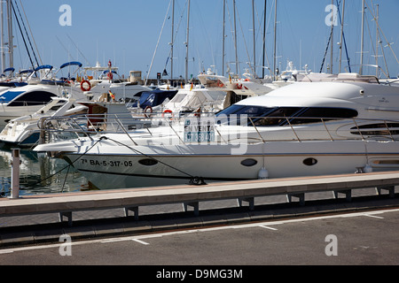 large powerboat for sale in the port marina Cambrils Catalonia Spain - Stock Photo