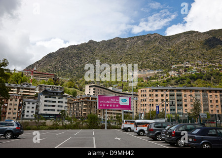 view of steep valley from city centre of andorra la vella andorra - Stock Photo