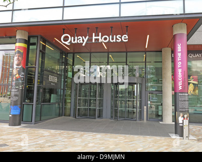 BBC Breakfast studio at  Quay House Salford Media City UK Manchester UK - Stock Photo