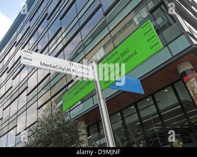Sign posts at BBC Salford Media City UK Manchester UK to The Stage, MediaCityUK Metrolink - Stock Photo