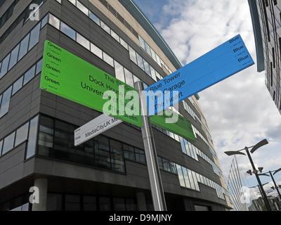 Sign posts at BBC Salford Media City UK Manchester UK - Stock Photo