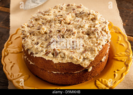 Homemade Gourmet German Chocolate Cake with almonds and coconut - Stock Photo