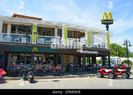 McDonald's Restaurant on beachfront, Faliraki, Rhodes (Rodos) Region, The Dodecanese, South Aegean Region, Greece - Stock Photo