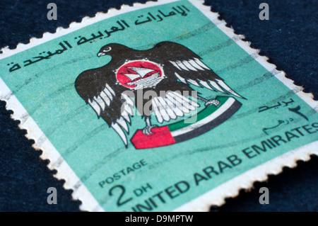 united arab emirates postage stamps in studio setting - Stock Photo