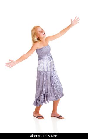 cheerful pre teen girl full length portrait isolated on white - Stock Photo