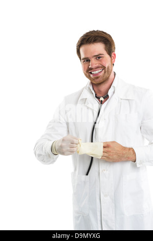 (Model release) Protection against infections with gloves - Stock Photo