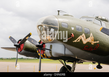 B-17G Flying Fortress bomber 'Sally B', one of three aircraft used in the 1990 film 'Memphis Belle' parked at Duxford - Stock Photo