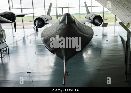 SR-71 Blackbird on display at Duxford Imperial War Museum - Stock Photo