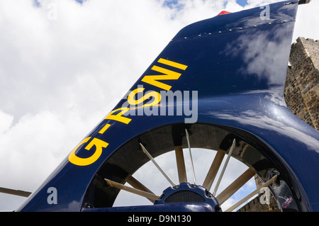 Tail rotor and marking of PSNI helicopter Eurocopter EC-135  G-PSNI showing the fenestron tail rotor - Stock Photo