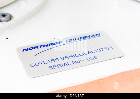 Manufacturers plate on a Northrop Grumman Remtec Cutlass unmanned vehicle, used by the bomb squad to defuse suspicious - Stock Photo