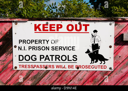 Keep out sign at prison in Northern Ireland - Stock Photo