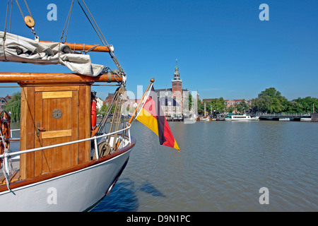 Europe, Germany, Lower Saxony, East Friesland, blank, harbour, scales, city hall, museum harbour, passenger ships - Stock Photo