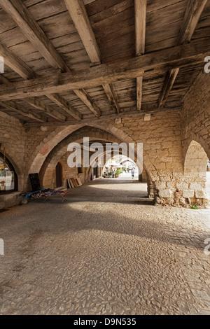 Undercroft, La Bastide de Monpazier, around the Place des Cornieres, Monpazier, Dordogne, France - Stock Photo