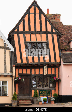 15th century Crooked House antiques shop and tearooms in quaint wonky crooked orange timbered building in High Street, - Stock Photo