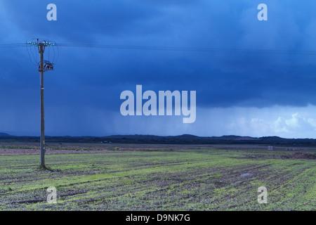 Rain falls over Braunton Burrows, Devon England - Stock Photo